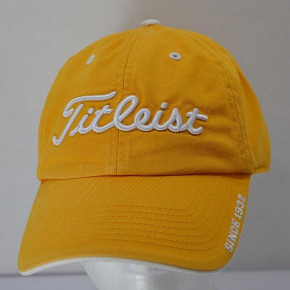 Titleist Yellow Golf Baseball Hat Adjustable strap.  M 5aa5ea373a112eaa6ba9e6a1 1b049647380